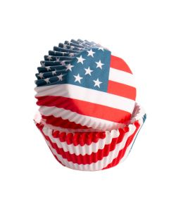 USA Flag Patriotic Baking Cups Standard Cupcake Liners, Red White Blue