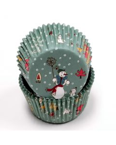 Fancy Festive Christmas Snowman Standard Cupcake Liners, Teal, 50 Pack