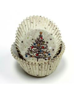Festive Christmas Tree w Ornaments Standard Cupcake Liners, Off-White, 50 Pack