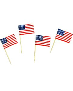 American Flag Patriotic Food 2.5'' Appetizer Picks, White Blue Red, 50 Pack