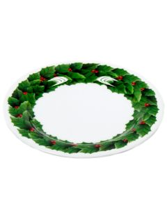 "Chef Craft Festive Christmas Wreath 8"" Decorative Plate, White Green Red"