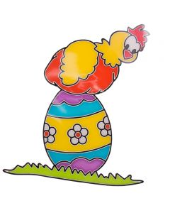 "Chef Craft Easter Chick Sitting on Egg PVC Decoration 7"" Window Cling"