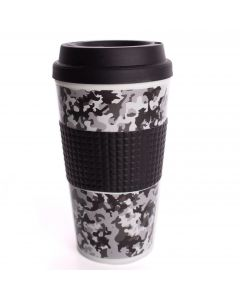Chef Craft Double Wall Insulated Camouflage 16.5oz Travel Mug, Black