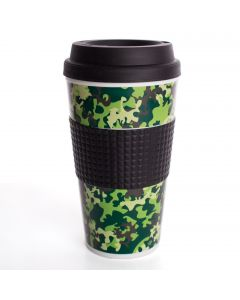Chef Craft Double Wall Insulated Camouflage 16.5oz Travel Mug, Green