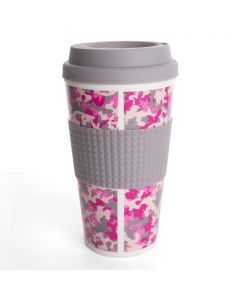 Chef Craft Double Wall Insulated Camouflage 16.5oz Travel Mug, Pink