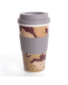 Chef Craft Double Wall Insulated Camouflage 16.5oz Travel Mug, Brown