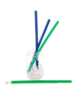 4 Pack Premium Quality Reusable Silicone 8mm Straws With Brush, Green Blue