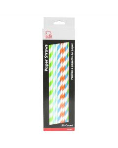 """Chef Craft Colorful Striped Summer Time Party 10.5"""" Paper Straws, Multi, 50 Pack"""