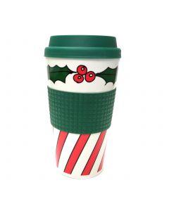 Veil Entertainment Christmas Holly & Berries Coffee Travel 16oz Mug, Green Red
