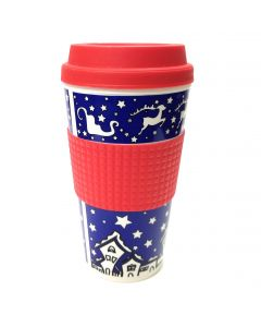 Veil Entertainment Christmas Reindeer Coffee Travel 16oz Mug, Blue Red