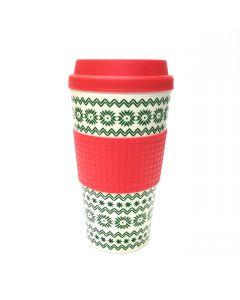 Veil Entertainment Christmas Sweater Design Coffee Travel 16oz Mug, Red Green