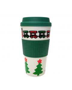 Veil Entertainment Christmas Train Design Coffee Travel 16oz Mug, Green White