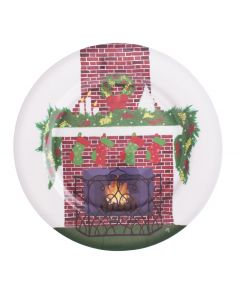 "Chef Craft Festic Christmas Snowy Chimney 13"" Serving Tray, Red Green"