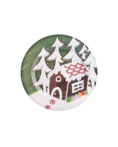 "Chef Craft Christmas Gingerbread House Plate 13"" Serving Tray, Brown Green"