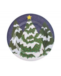 "Chef Craft Christmas Tree Plate 13"" Serving Tray, Green Blue"