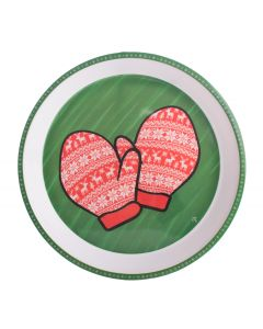 "Christmas Tree Santa Snowman & Mitten 11.75"" Serving Tray Set, Red Green, 4 Pack"