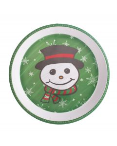"Chef Craft Christmas Snowman Platter 11.75"" Serving Tray, Red Green White"
