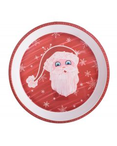"Chef Craft Santa Christmas Holiday Platter 11.75"" Serving Tray, Red Green White"