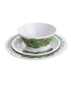 Festive Christmas Wreath Tray, Bowl & Plate 3pc Dinnerware Set, White Green Red