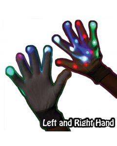 Supreme Extreme Rave Light-Up 2pc LED Gloves, White Rainbow, One-Size