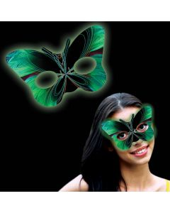 """Supreme Glow Comfortable Bright Butterfly Mask 5"""" Halloween Glow, Green"""
