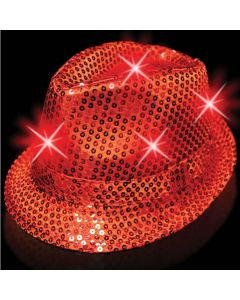 Supreme Light Up Flashing Sequin Fedora Party LED Hat, Red, One Size