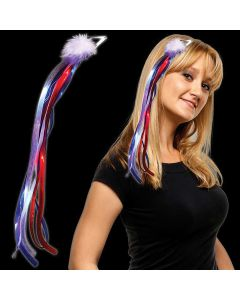 Patriotic Diva Hair Clip w Ribbons LED Hair Accessory, Red White Blue, 16""