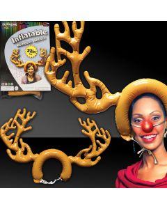 """Supreme Huge Inflatable Reindeer Antlers Headpiece, Brown, 30"""" x 22"""""""