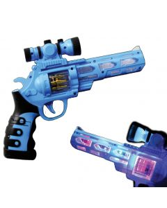 "Supreme Light-Up Hand Pistol Revolver 10.5"" LED Gun w Scope & Sound, Blue"