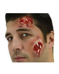 "Maggots 2"" Peel n Stick & Rotting Skin Tattoo 5pc Special Effects Kit, Beige Red"