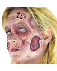 """Zombie 2.5"""" Peel n Stick Rotting Skin 9pc Special Effects Kit, Red Grey Brown"""