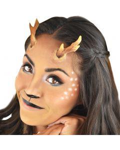 "Deer Faun 3"" Peel n Stick Antlers & Makeup 8pc Special FX Kit, Brown White Black"