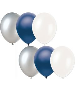 "Football Team Fan Solid 3-Color Party 11"" Latex Balloons, Navy Silver White, 6 CT"