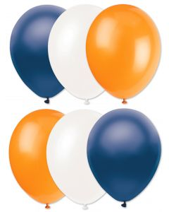 "Football Team Solid Party 6pc 11"" Latex Balloons, Navy Orange White"
