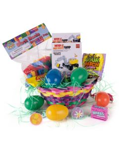 "Construction Vehicle Building Blocks Boy 26pc 8"" Easter Basket Gift Set"