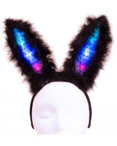 "Light Up Flashing Easter Party Bunny Ears LED Headband, Black, One Size 8""T"