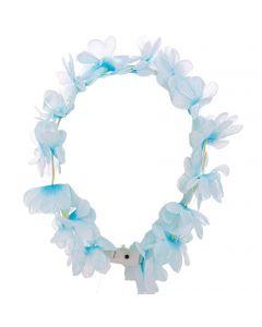 Hawaiian Costume Luau Party Lei Accessory LED Headband, White Blue, One Size