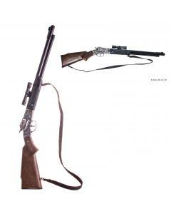 Gonher Cowboy Die Cast Metal 8-Shot Rifle Costume Toy Gun w Scope, Black Brown
