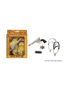 "Wild West Set 4pc Costume Weapon Accessory Set, Black Silver, 7""x6"""