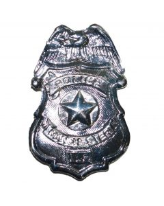 Funny Fashion Deluxe Metal Police Of Manchester Costume Badge, Silver, 3.5""