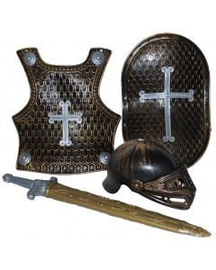 Medieval Knight Set 4pc Kids Costume Accessory Set, Bronze Black Gray, One-Size