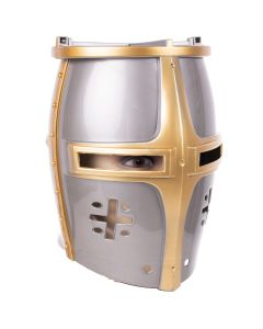 Funny Fashion Adult Deluxe Kight Costume Helmet, Silver Gold, One-Size