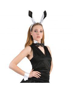 "Playboy Bunny Girl 4pc One-Size 6"" Costume Accessory Kit, White Black"