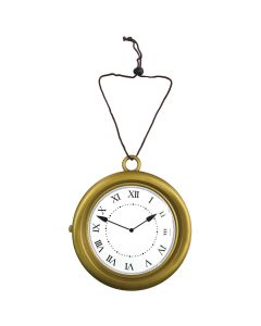 """Funny Fashion Large Gold Steampunk Roman Numeral Clock Costume Prop, Gold, 8"""""""