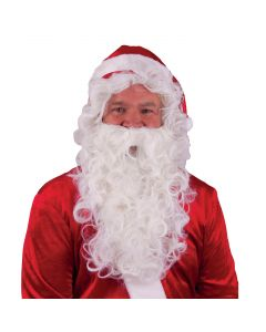 Christmas Santa Wig and Beard Costume Accessory Kit, Red White, One-Size
