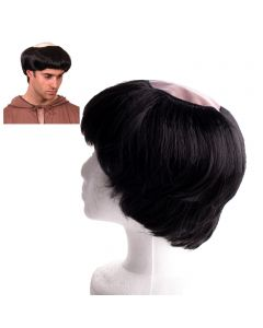 """Funny Fashion Brother Monk Bald Top Costume Wig, Black, 7.5""""X3"""""""