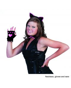 Cat Ears Choker Gloves Set 3pc Costume Accessory Set, One-Size, Black Pink