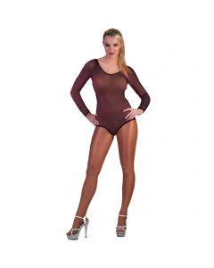 Rave Fishnet Long Sleeve Leotard Women Costume Bodysuit, Black, Large 6-12