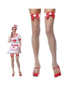 Doctor Nurse Costume Fishnet Stocking Thigh-Highs, White Red, One-Size