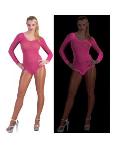 Neon Rave Fishnet Long Sleeve Leotard Women Costume Bodysuit, Pink, Large 6-12